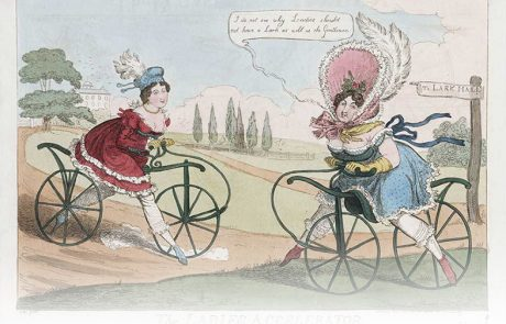 Reactions to early bicycles: a political cartoon from 1819, 'The Ladies Accelerator' by Robert Cruikshank on why women should not be allowed to cycle (they are scandalously revealing) Source: Lewis Walpole Library (http://images.library.yale.edu/walpoleweb/oneitem.asp?imageId=lwlpr12016)