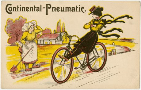 "Reactions to early bicycles: the rural/urban conflict between ""urban"" cyclists and the rural population, as well as the ""liberated"" and attractive, even edgy, suffragist cycling woman and the ""backwards"" non-cycling woman in a 1900 advertisement for Continental cycling tyres."