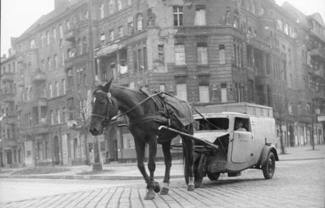 Finally, a photograph by Otto Donarth of a horse pulling a car in post-WWII 1946 Berlin, where functioning things and fuel were both in short supply.