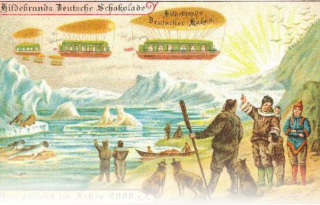 "These images depict what an artist hired in 1900 by the Berliner purveyor of chocolate to the Prussian court, Hildebrand, imagined transport to look like in 100 years' time (in the year 2000). While we do not walk on water with small balloons attached to us, we definitely travel much more to the Arctic… and we also travel by air a lot. Xavier and Hindley1 have undertaken thought-provoking recent research on related issues of reactance relating to the tourism explosion in Svalbard. Paradoxically the fact that Svalbard's glaciers and polar bear population are being destroyed by global warming means more tourists wish to take what they perceive as a ""last chance"" to see it … and thus create more emissions and accelerate the destruction."